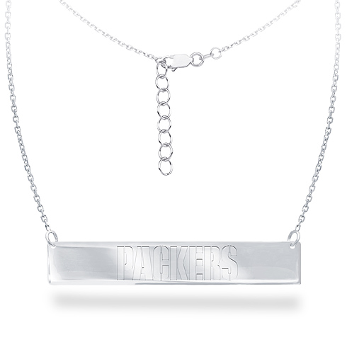 Sterling Silver Green Bay Packers Bar 18in Necklace