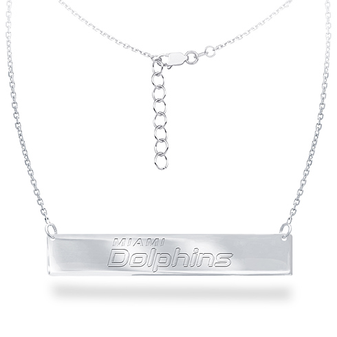 Sterling Silver Miami Dolphins Bar 18in Necklace