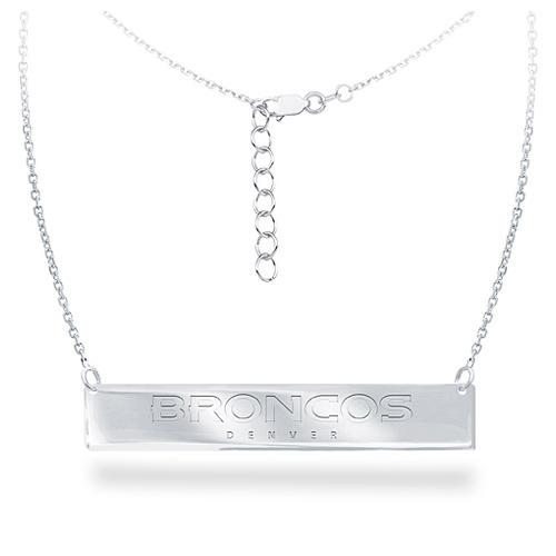 Sterling Silver Denver Broncos Bar 18in Necklace