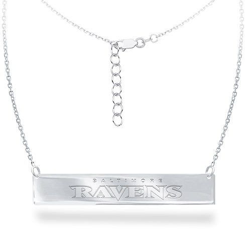 Sterling Silver Baltimore Ravens Bar 18in Necklace
