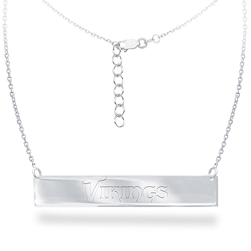 Sterling Silver Minnesota Vikings Bar 18in Necklace