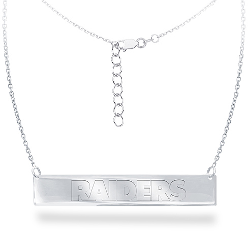 Sterling Silver Oakland Raiders Bar 18in Necklace