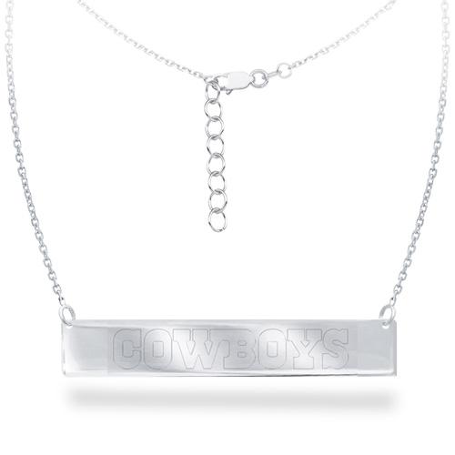 Sterling Silver Dallas Cowboys Bar 18in Necklace