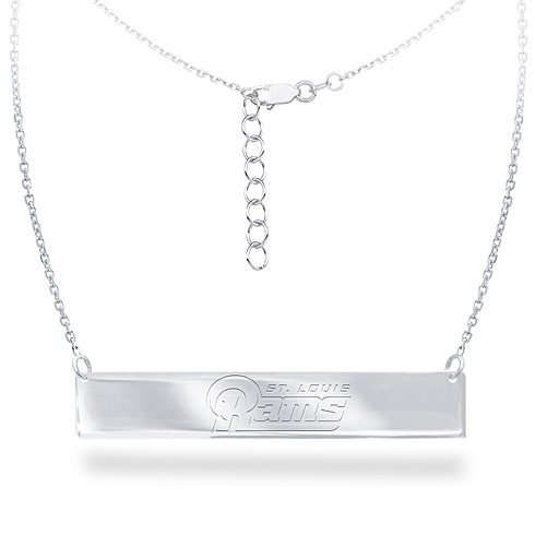 Sterling Silver Los Angeles Rams Bar 18in Necklace