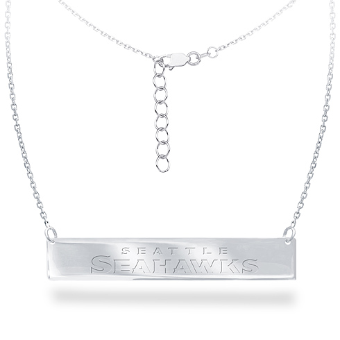 Sterling Silver Seattle Seahawks Bar 18in Necklace