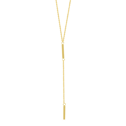 14kt Yellow Gold Lariat with Two Bars 18in Necklace