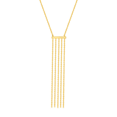14kt Yellow Gold Bar and Tassel 18in Necklace