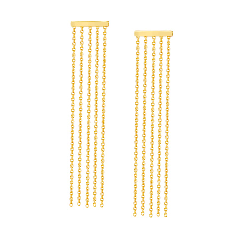 14kt Yellow Gold Bar Tassel Drop Earrings