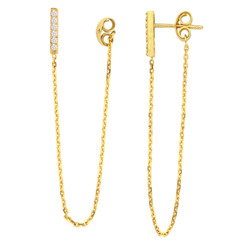 14k Yellow Gold Front to Back Bar Earrings with Cubic Zirconia Accents