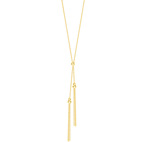 14kt Yellow Gold Double Beaded Tassel 18in Necklace