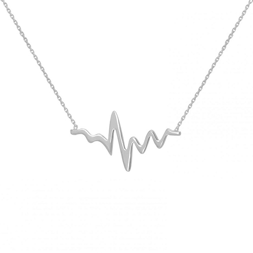 14kt White Gold Heartbeat 18in Necklace