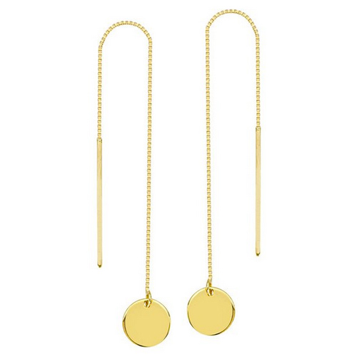 14kt Yellow Gold Threader Earrings with Round Discs