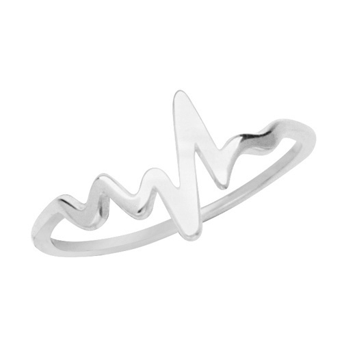 14kt White Gold Heartbeat Symbol Ring