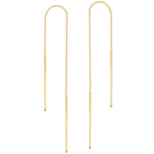 14kt Yellow Gold Slender Bar Threader Earrings