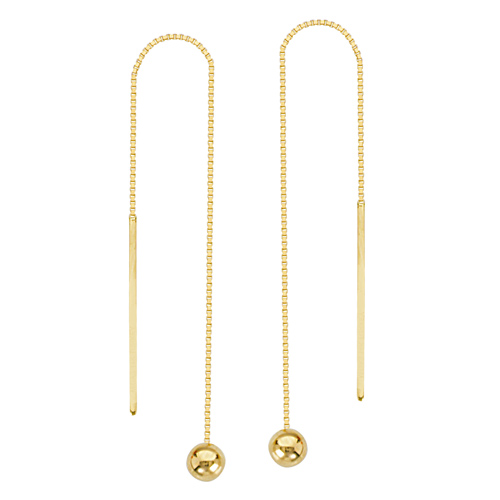 14kt Yellow Gold 4mm Ball Threader Box Chain Earrings