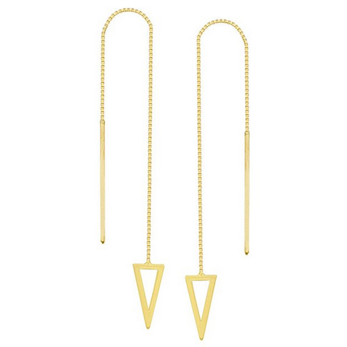 14kt Yellow Gold Open Triangle Threader Earrings