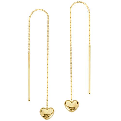 14kt Yellow Gold Puff Heart Threader Earrings