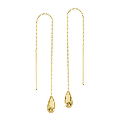 14kt Yellow Gold Threader Tear Drop Earrings