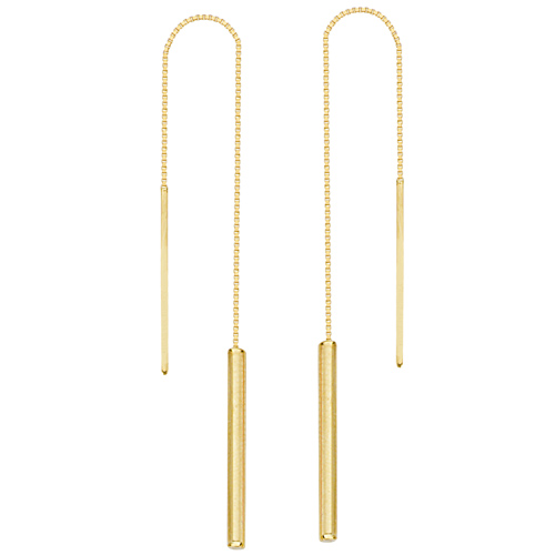 14kt Yellow Gold Tube Threader Box Chain Earrings