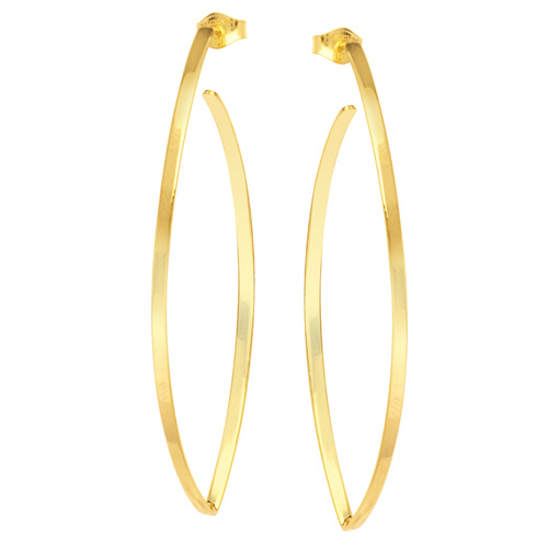 14kt Yellow Gold 2in Hawley St Round Wire Earrings