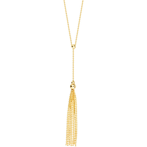 14kt Yellow Gold Beaded Lariat Tassel 18in Necklace