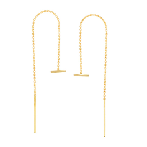 14kt Yellow Gold Mini Horizontal Bar Threader Earrings