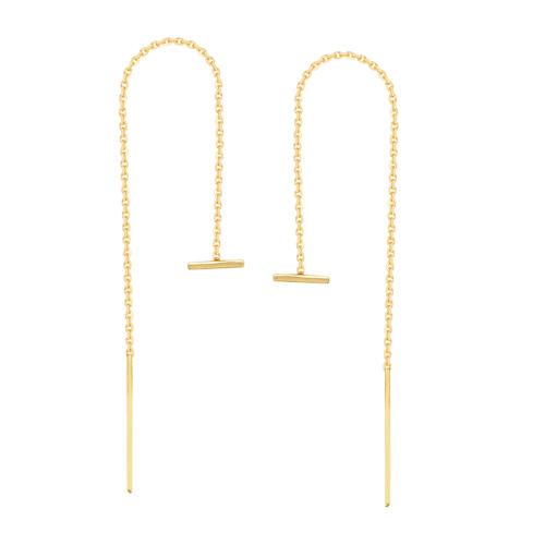 14kt Yellow Gold Mini Horizontal Bar Threader Earrings