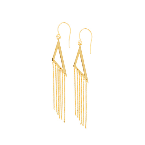 14kt Yellow Gold Open Triangle Tassel Drop Earrings