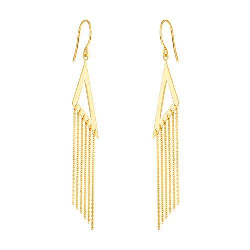 14kt Yellow Gold Open Triangle Tassel Drop Earrings