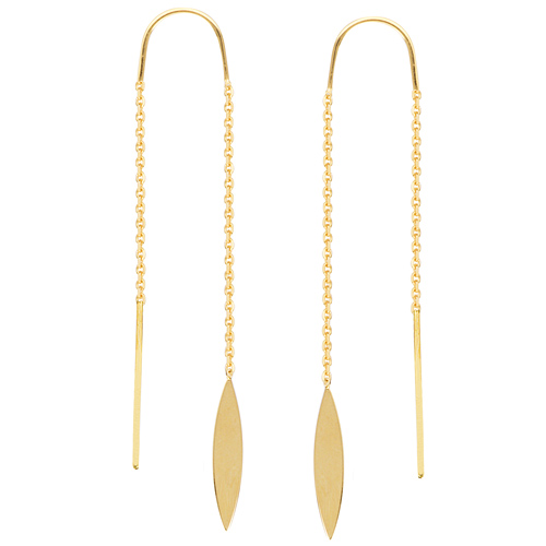 14kt Yellow Gold Pointed Oval Threader Earrings
