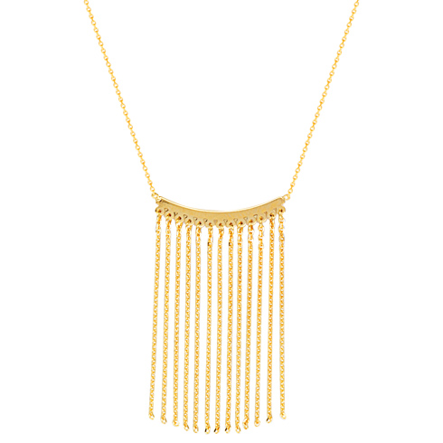 14kt Yellow Gold Curved Bar Tassel 18in Necklace