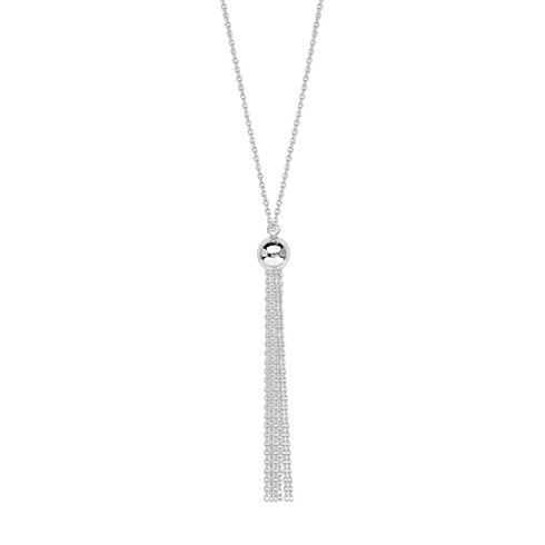 14kt White Gold 5.5mm Bead and Tassel 18in Necklace