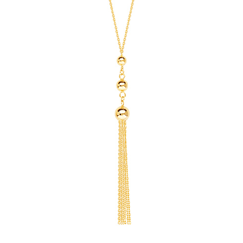 14kt Yellow Gold Graduated Beads and Tassel 18in Necklace