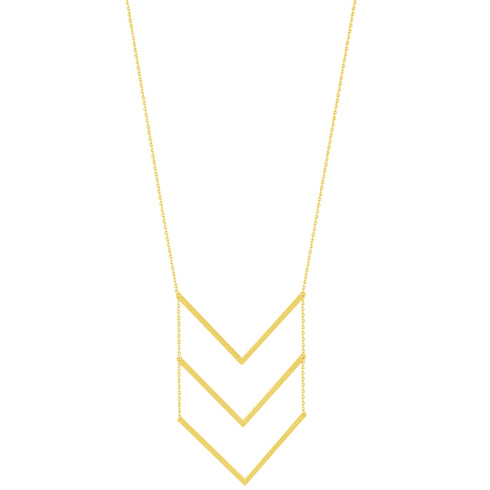 14kt Yellow Gold Multi Stacked V 18in Necklace