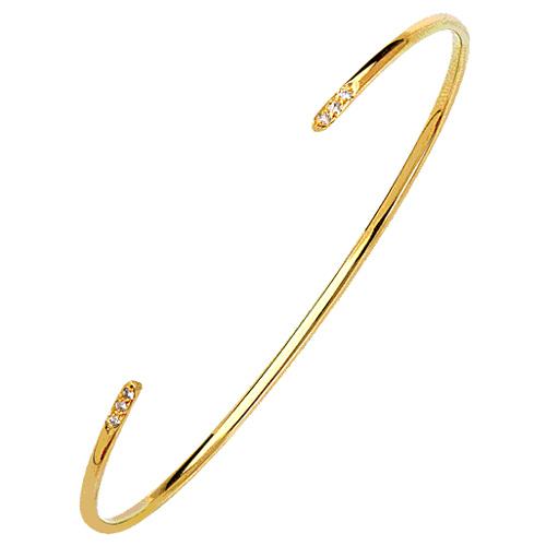 14kt Yellow Gold .05 ct Diamond Bangle Cuff Bracelet
