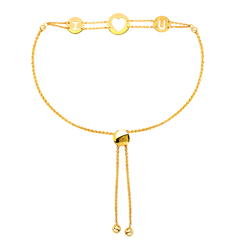 14kt Yellow Gold 9 1/2in I Heart You Bolo Bracelet