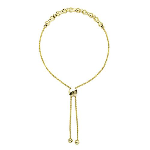 14kt Yellow Gold 9 1/2in Bone Bead Bolo Bracelet