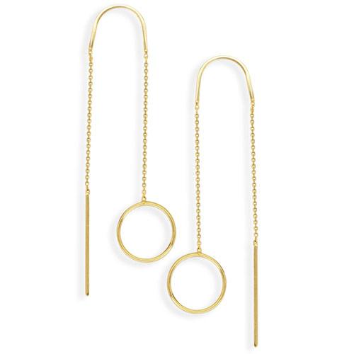 14kt Yellow Gold Open Disc Threader Earrings
