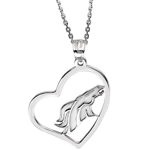 Sterling Silver Denver Broncos Open Heart 18in Necklace