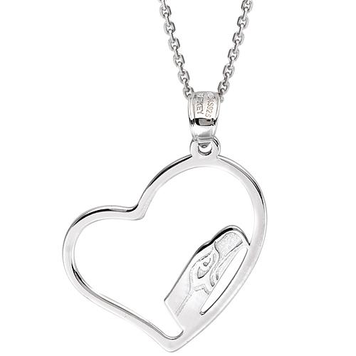 Sterling Silver Seattle Seahawks Open Heart 18in Necklace