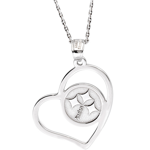 Sterling Silver Pittsburgh Steelers Open Heart 18in Necklace