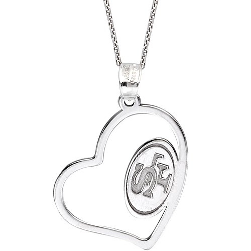 Sterling Silver San Francisco 49ers Open Heart 18in Necklace