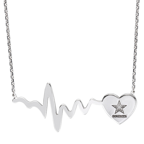 Sterling Silver Dallas Cowboys Heartbeat 18in Necklace