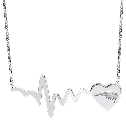 Sterling Silver New England Patriots Heartbeat 18in Necklace