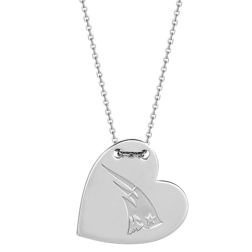 Sterling Silver New England Patriots Tailored Heart 18in Necklace