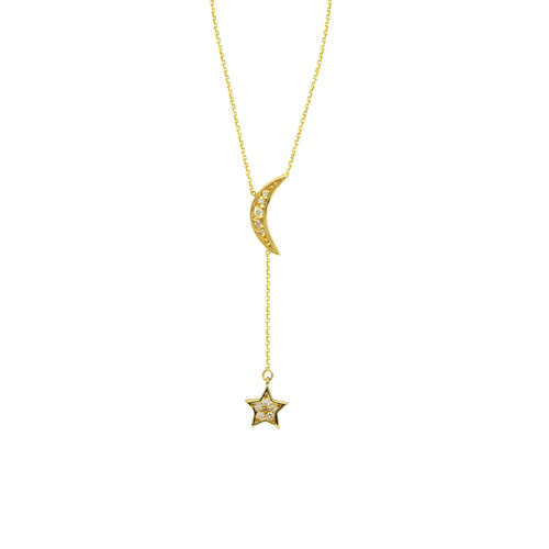 1 10 Ct Tw Diamond Crescent Moon And Star Necklace 14k