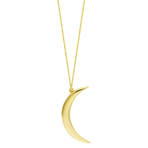 14k Yellow Gold Small Moon Necklace