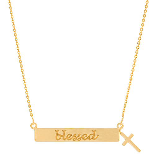 14k Yellow Gold Blessed Bar with Dangle Cross Necklace 18in