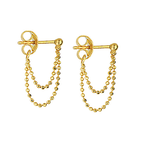 14k Yellow Gold Front to Back Double Chain Earrings
