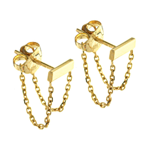 14k Yellow Gold Front To Back Bar Earrings